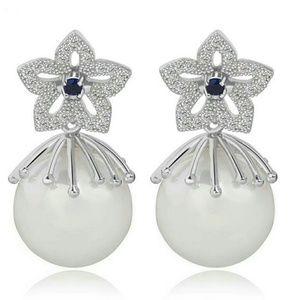 Doble  Side Flower Pearl Earrings